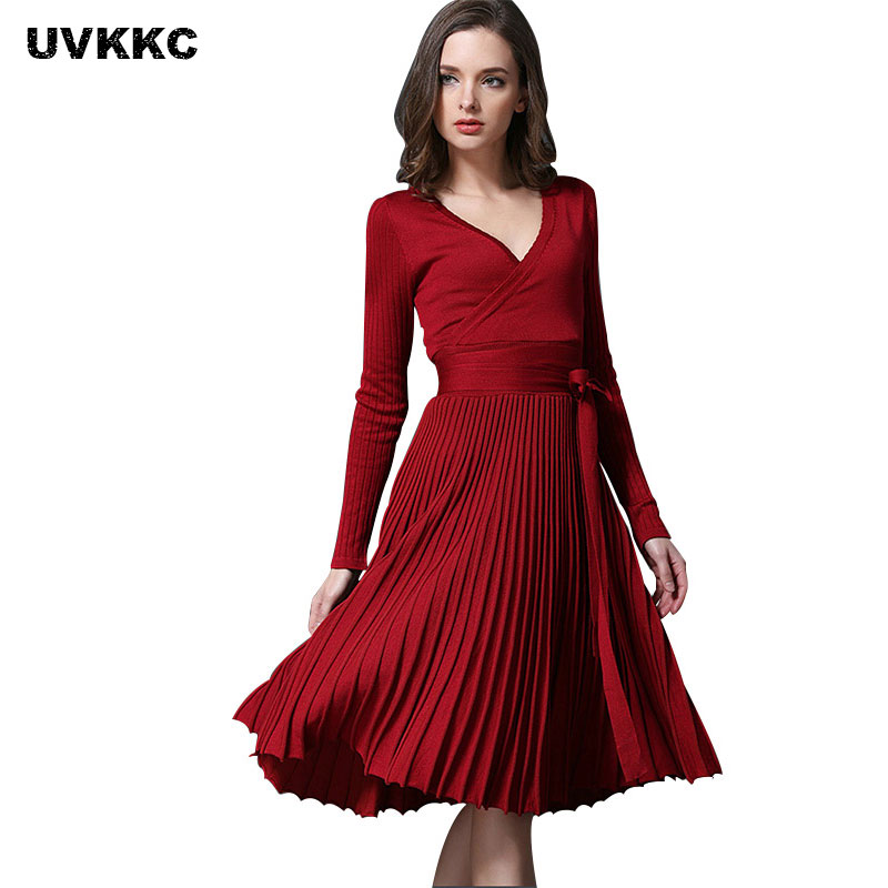 Women Knitted Dresses Autumn Sexy Long Sleeve V Neck Dress With Sashes Women Pleated Sexy Dress Office Party Casual Knit Vestido женское платье sexy long dresses sexy 2015 v vestido lya1333
