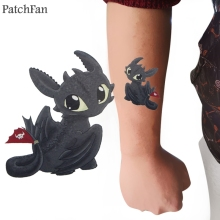 2pcs Patchfan How to train your dragon light fury toothless Temporary Body Art Sticker Water Transfer Tattoo Men Makeup A1690