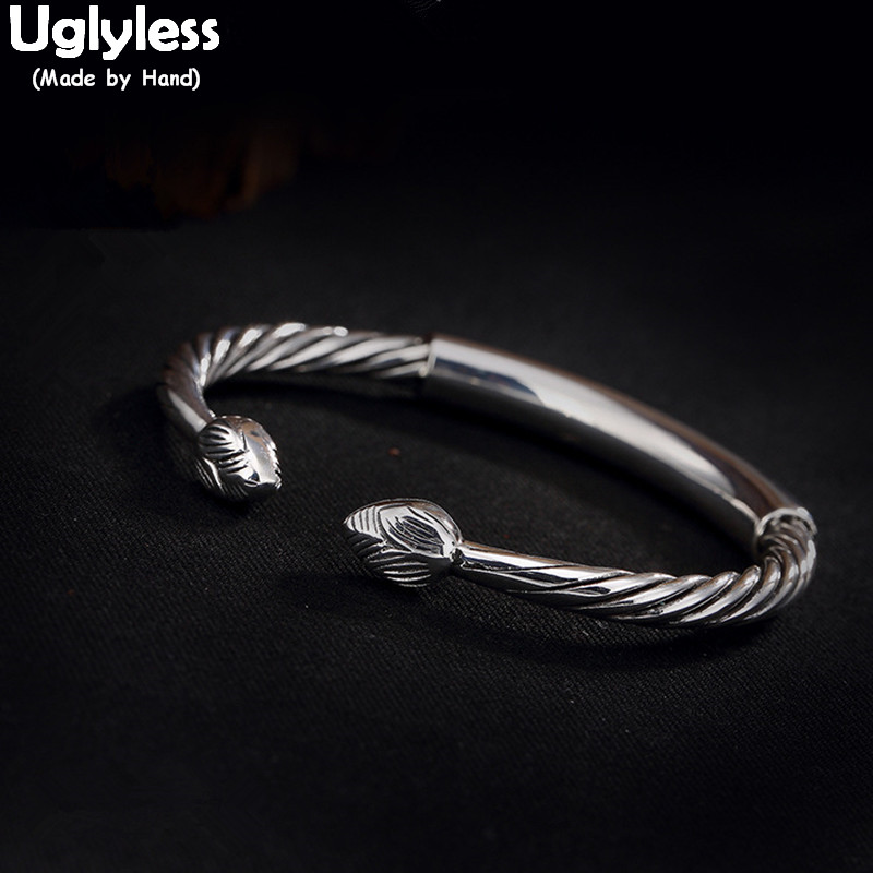 Uglyless Real 990 Silver Fine Jewelry Handmade Women Twist Bangles Lotus Screw Thread Bangle Ethnic Statement Dress Bijoux FemmeUglyless Real 990 Silver Fine Jewelry Handmade Women Twist Bangles Lotus Screw Thread Bangle Ethnic Statement Dress Bijoux Femme