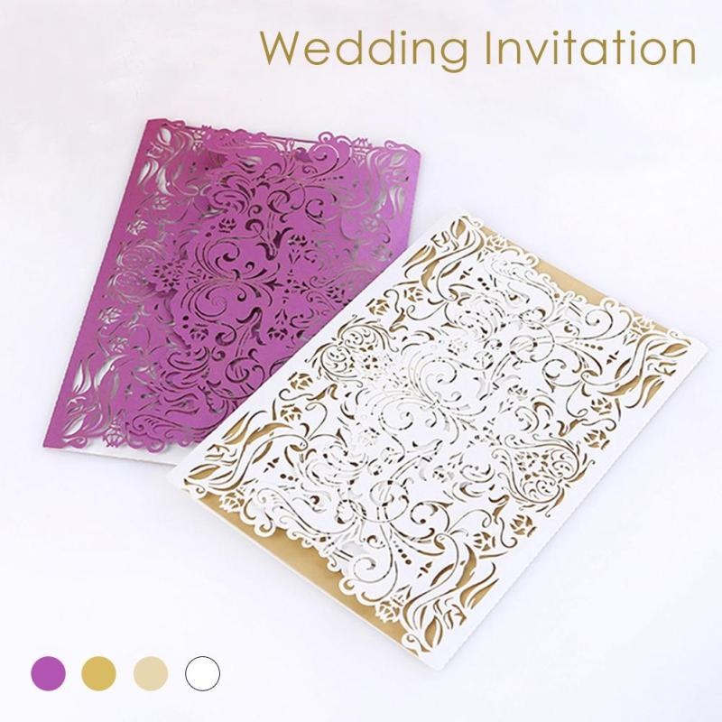 20Pcs/lot Tried-Folded Type Laser Cut Lace Wedding Invitation Cards Delicate Flower Carved Invitation Card Party Supplies K3 1 design laser cut white elegant pattern west cowboy style vintage wedding invitations card kit blank paper printing invitation