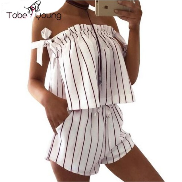 2017 New Fashion Off Shoulder Flared Cropped Tops For Women Striped Shirt High Waist Shorts Set Ruffle Vest Party Club Beac Wear