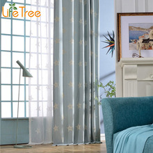 White Star Embroidered Modern Curtain For Living Room Mediterranean Bedroom Window Drapes For Boy Girl Window