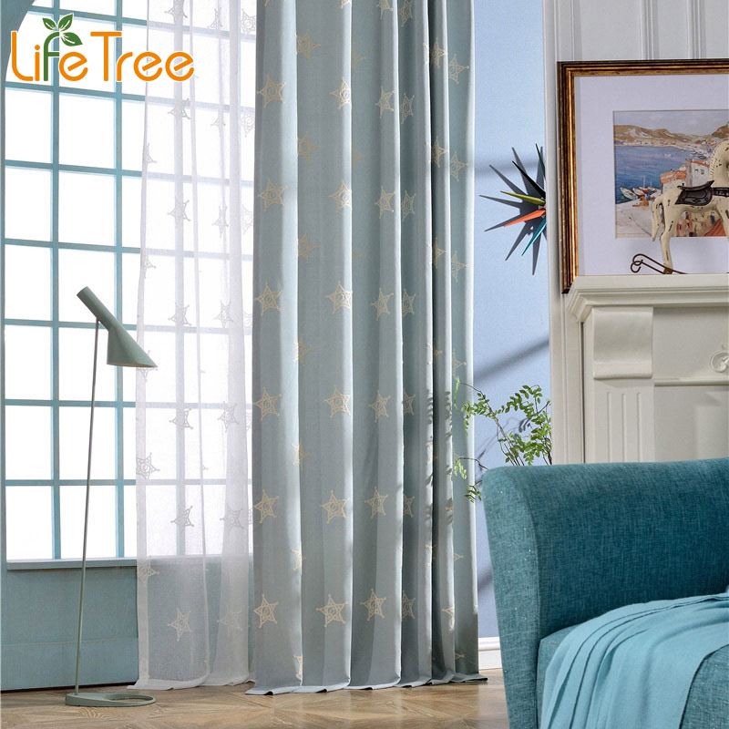 White Star Embroidered Modern font b Curtain b font For Living Room Mediterranean Bedroom Window Drapes