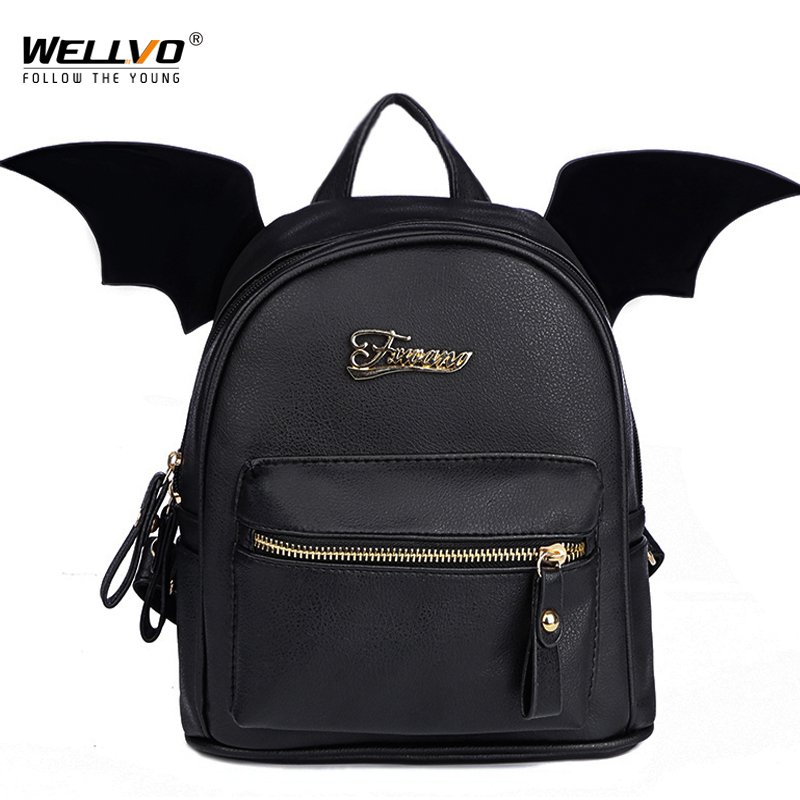 Wellvo PU Leather Backpack Women Bat Wings Backpacks Teenage Girls Mini Black Bag Fashion Small Shoulder Bag Mochila New XA2098C nighteye led car headlight bulbs 9005 hb3 9006hb4 9012 h4 9003 h7 h11 h13 000lm 50 set 6500k car fog light bulb car light source