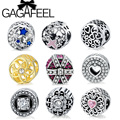 GAGAFEEL Big Hole Blue Star Pink Heart Crystal Charms Fit Pandora Bracelet With Clear Cubic Zirconia DIY Jewelry Making