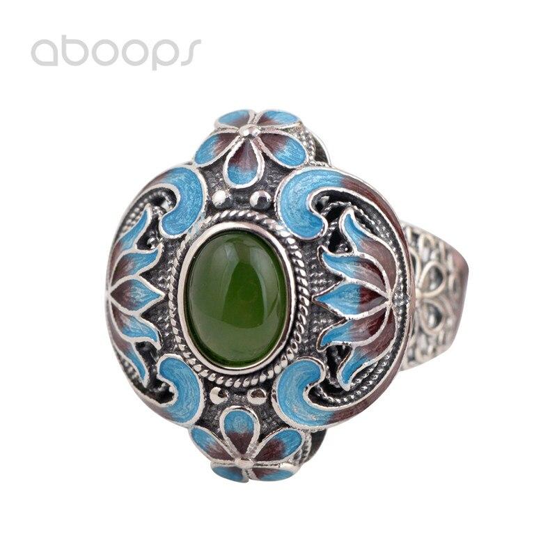 Ethnique 925 Sterling argent émail fleur filigrane anneau ouvert avec pierre jaune vert pour les femmes filles réglable livraison gratuite