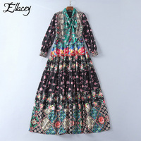 Ellacey 2018 Newest Fashion Runway Maxi Dress Women S Elegant Long Sleeve Flower Floral Printed Black