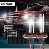 Taitian 2 Sztuk H11 100 W Ukrył Ksenonowych balastu + 55 W Ksenonowe Światła 12 V 3000 K xenon żarówka żółta żarówka h1 H3 h7 h8 Samochodów światła przeciwmgielne 9005 9006 hb4
