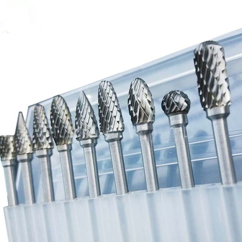 10 Pieces/Set 1/8 Tungsten Carbide Burr Rotary Drill Bits Tools Cutter Files Set Shank P20 10pcs tungsten carbide drill bits for metal burr tungstenio burs cnc milling cutter dremel mini cone drill set ferramentas
