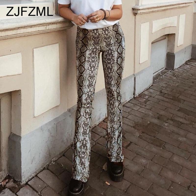 ZJFZML Women Streetwear Snake Print   Pants   Spring Autumn High Waist   Wide     Leg     Pants   2018 Elastic Waist Trousers Women