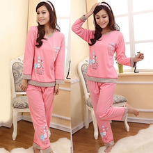 Women Cute Cartoon Polka Dot Casual Cotton Top + Long Pants Pajamas Sleepwear
