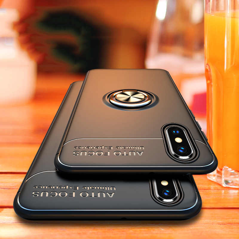Luxury Shockproof Bracket Ring Case On The For iphone X XR XS Max Full Cover For iphone 7 8 6 6s PLus Soft Silicone Holder Case