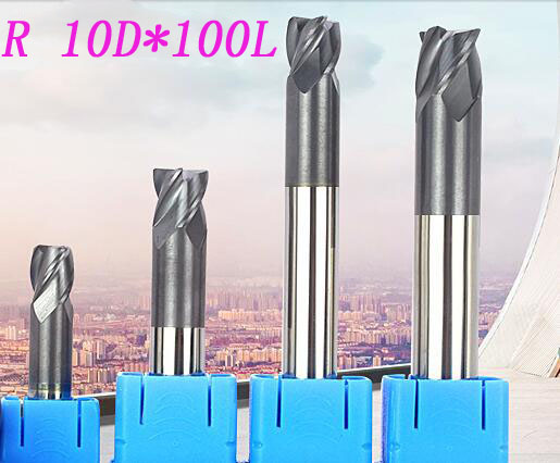 Free shipping 3pcs 10mm hrc60 D10*100L Carbide 4 Flutes short cutter Corner Radius End mill CNC Spiral Router bits Milling Tools  цены