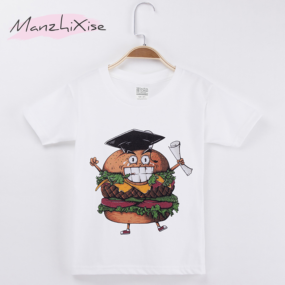 2018 New Popular Chidren Clothes Kids T-shirt Hamburger Ph.D. 100% Cotton Short Boys T Shirts Baby Girl Tops Tees Free Shipping