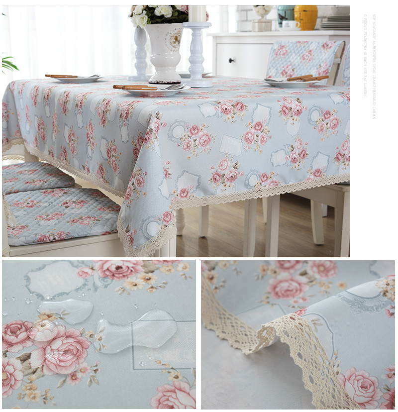 Fabric Flower Oilcloth Floral Blue Tarpaulins Table Cover Palace Tablecloth  Wedding Square Cotton Rose Classic Waterproof