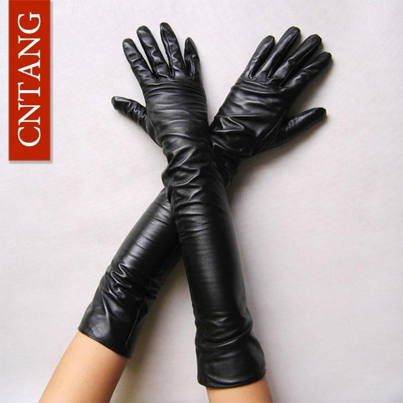 New 2018 Women Fashion Gloves Black Long Leather Gloves 40cm & 50cm Women's Mittens Winter Ladies Leather Gloves