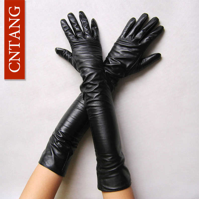 New 2018 Women Fashion Gloves Black Long Leather Gloves 40cm & 50cm Women's Mittens Winter Ladies Leather Gloves