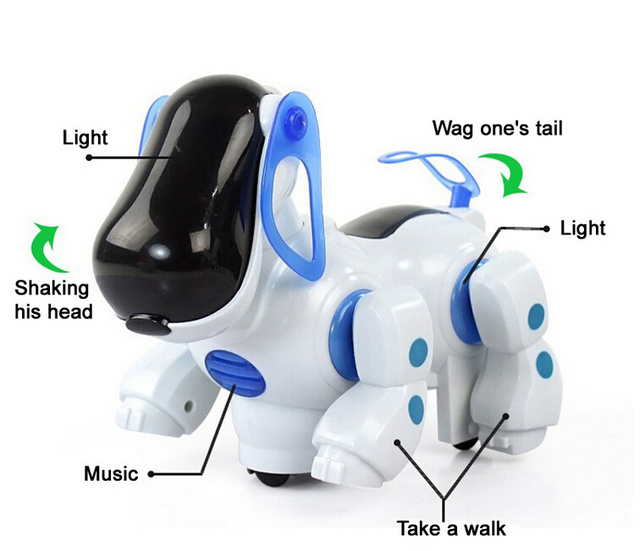 Дешевые электрический собака симпатичный робот домашних животных малыша другу с легкой музыкой трясущейся головой прогулка услуга хвост смешные детские игрушки