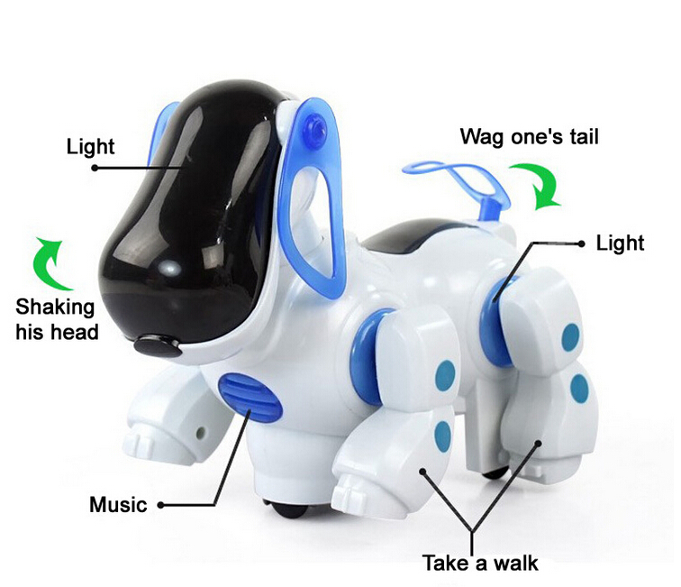 Cheap Electric Dog Cute Robot Pets Kid Friend With Light Music Shaking head Walk Wake Tail Funny Children Toys hsq001 essence barrel shaped shaking head dog style plastic iron ornament brown