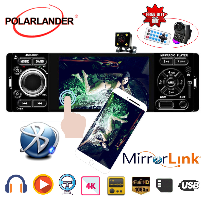 Microphone auto audio USB AUX Car MP5 Player Bluetooth 4 1 Din Car Radio Mirror Link for Andriod 12V DC Rear view camera image