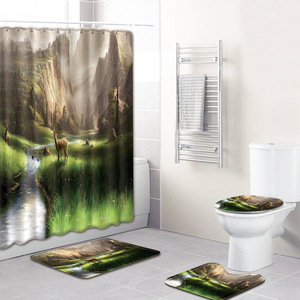 Image 5 - Hayvan geyik desen tasarımı 4 adet banyo perdesi su geçirmez kumaş duş perdesi halı seti tuvalet paspası banyo için