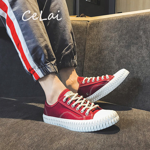 Image 1 - CeLai men shoes 2020 new green lace up canvas shoes male spring and summer casual shoes man student male sneakers krasovki A 011