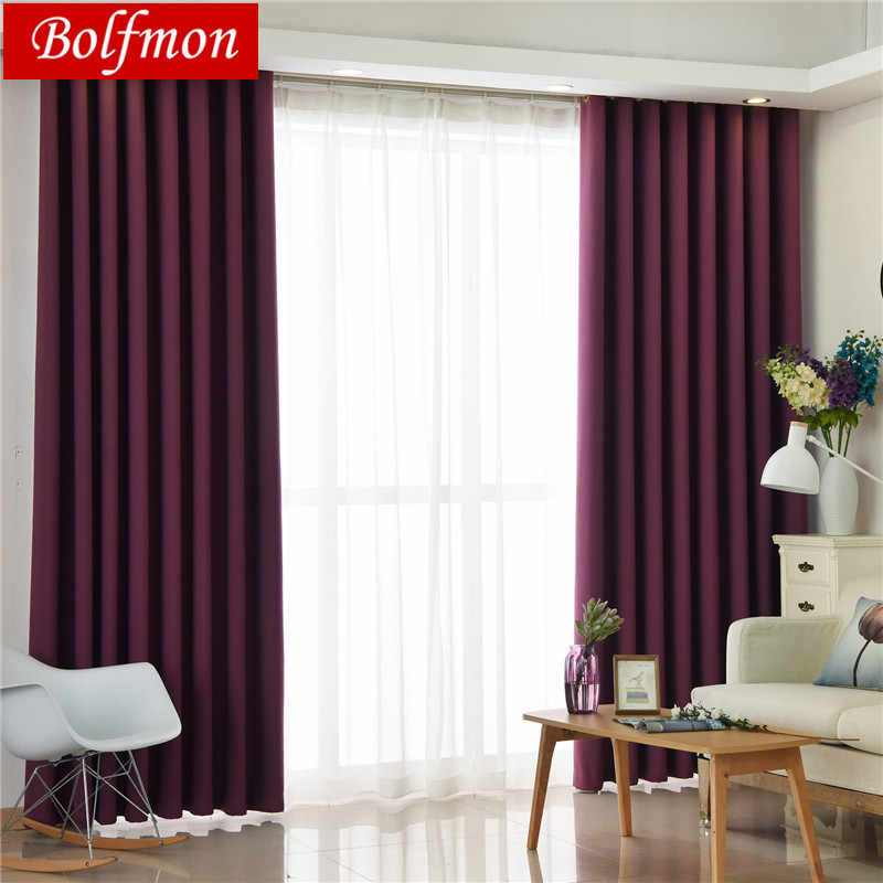 Latest elegant solid purple blackout curtains for bedroom living room curtain kid's room la cortina del apagon cortina para sala