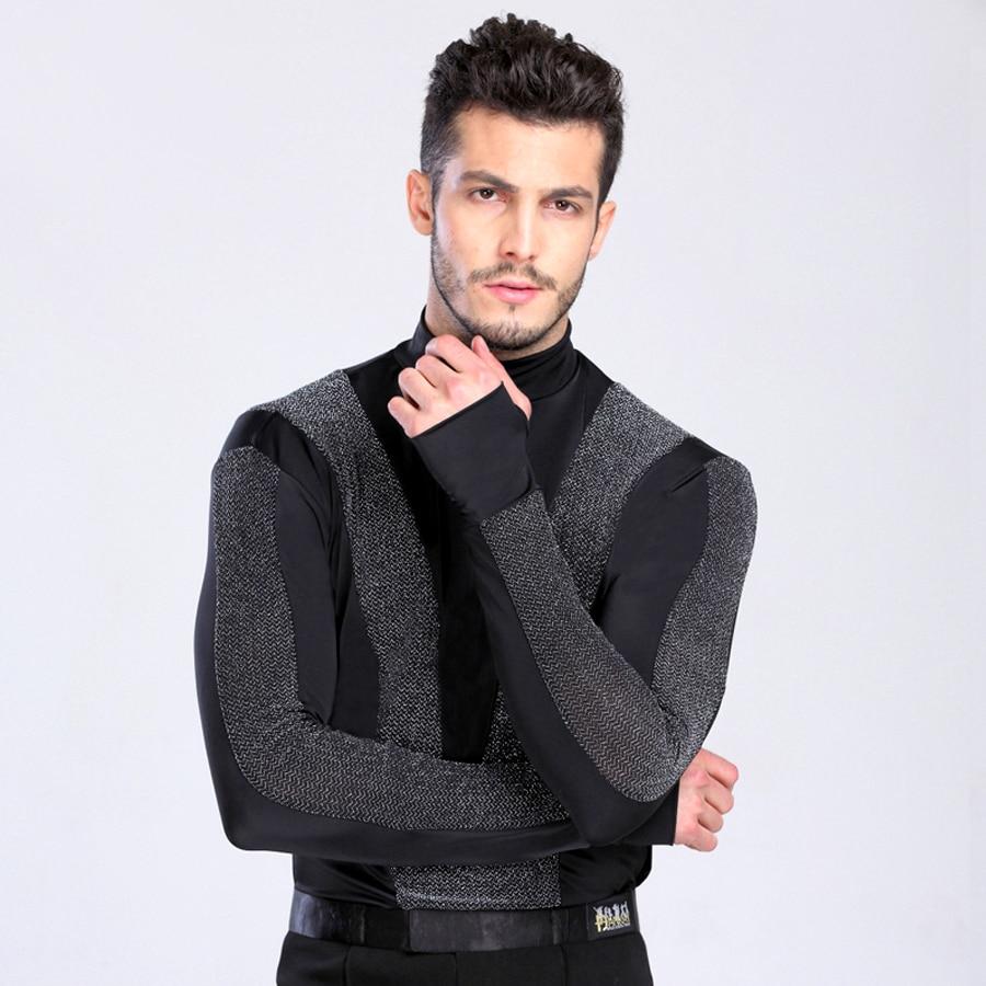 2018 New Arrival Men Dance Shirt Turtle Neck Long Sleeve Mens Latin Shirts Ballroom Dance Tops Clothing For Dance Wear DQ6027