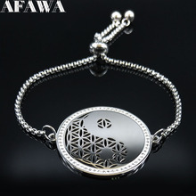 2019 Yin and Yang Gossip Flower of Life Stainless Steel Crystal Bracelets Women Silver Color Jewelry pulsera B18448