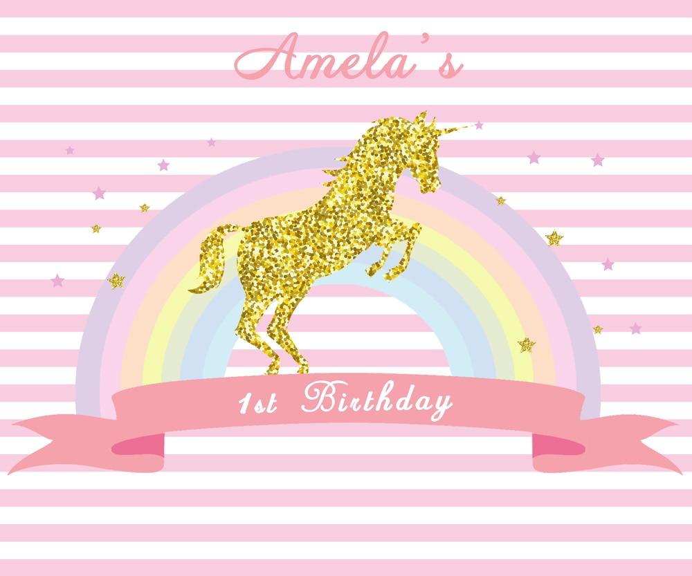 HUAYI Customized Unicorn Birthday Backdrop Seamless