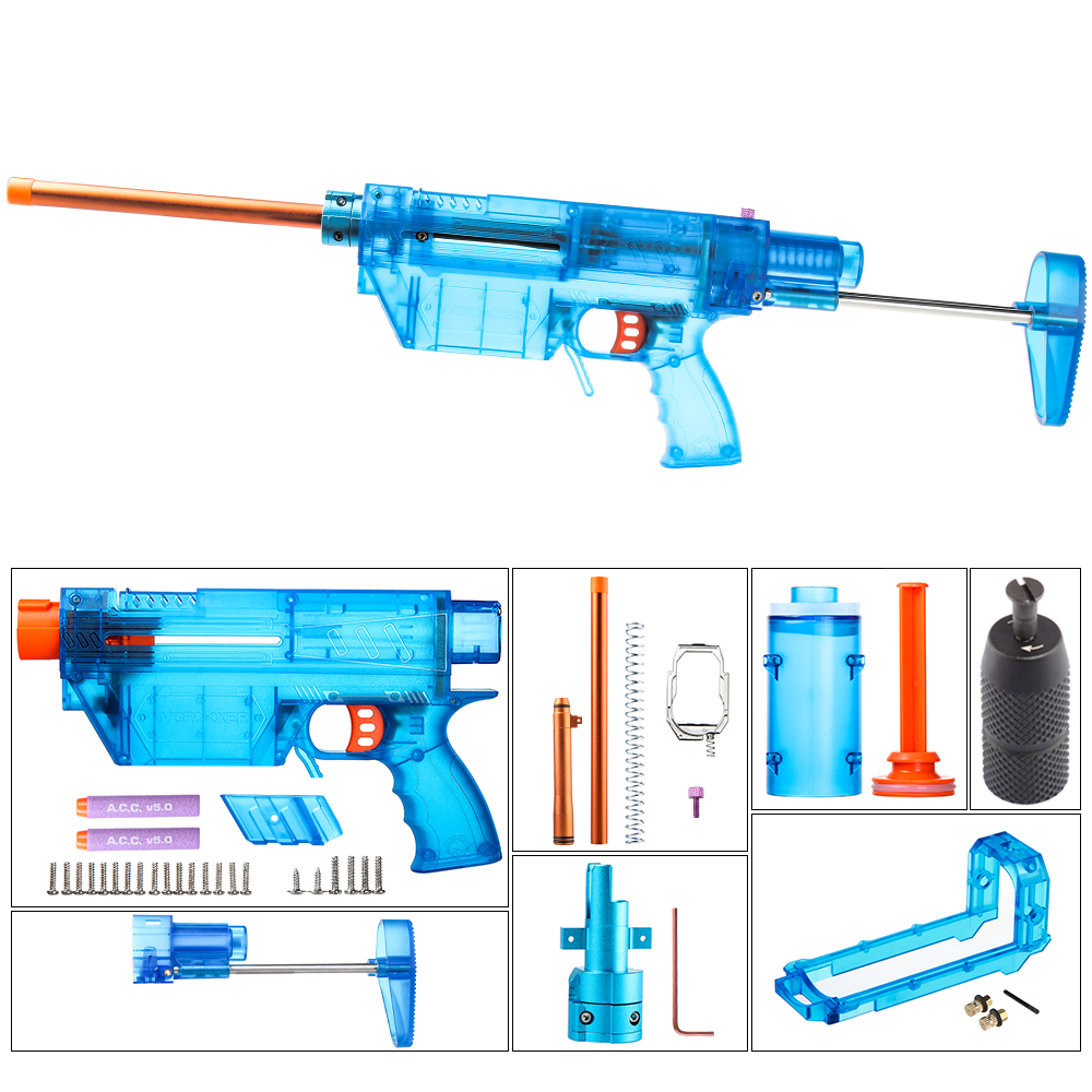 Worker Prediction R Series Modeling Short Bullet Transformed Kit for Nerf(Precision Version) - Transparent Blue