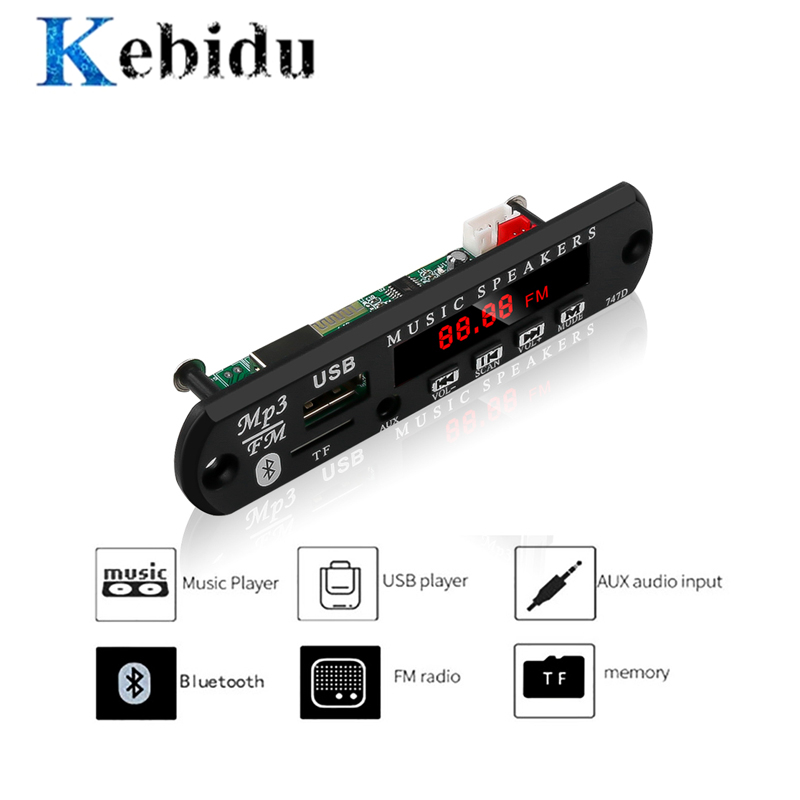 Kebidu Wireless Bluetooth 5V 12V MP3 WMA Decoder Board Audio Module USB TF Radio For Car Accessories Color Screen Audio Player