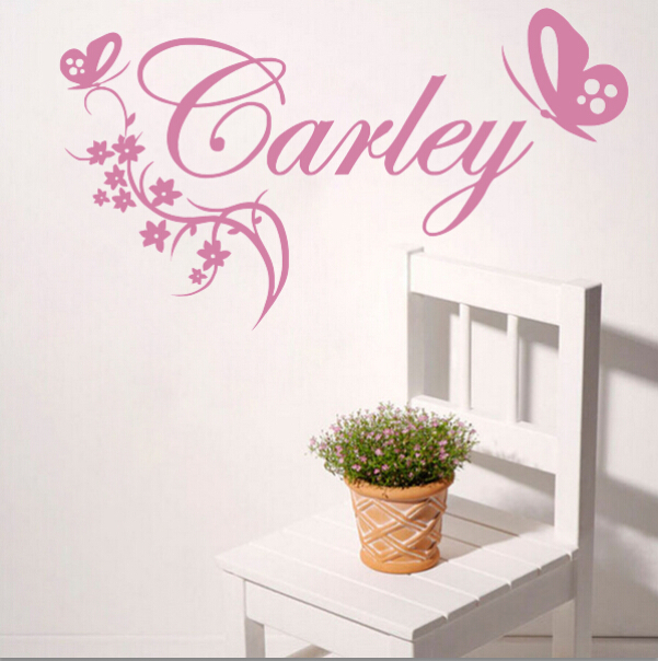 Personalized name customers butterfly flower leaf love wall vinyl sticker decal home decor words