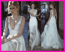 2014 New Design V Neck Backless Lace A Line Sexy Wedding Dresses Bridal Gowns Straps W2613