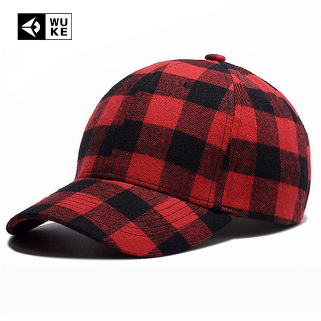 bf953d491cb US $7.96 30% OFF|Wuke Brand 2017 New Baseball Caps Mens Womens Fashion Red  Plaid Strapback Hats Adjust Unisex Cotton Cap Bone Aba Curva 2018 New-in ...