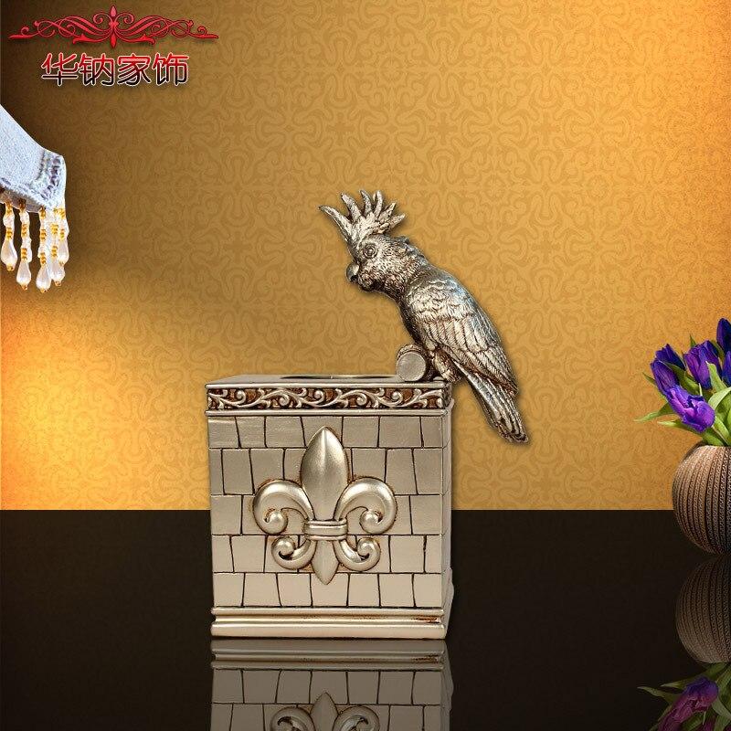 Style européen résine perroquet carré boîte à mouchoirs papier serviette dessin salon restaurant maison décorative arts et artisanat