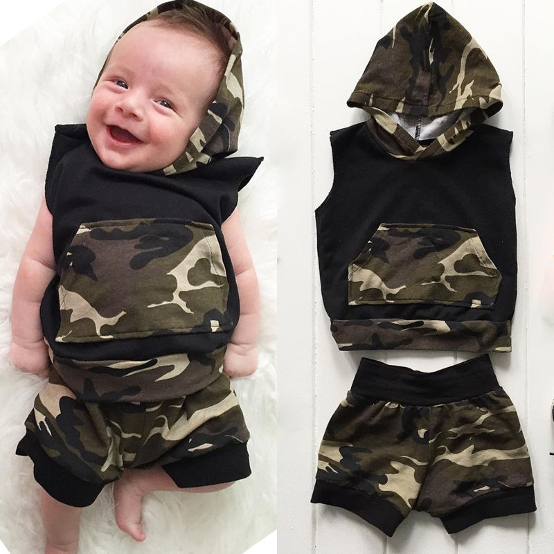2pcs Newborn Infant Baby Boy Girls Clothes Set Hooded Vest Top Cotton Shorts Outfits Fashion Set Clothing 3pcs set newborn infant baby boy girl clothes 2017 summer short sleeve leopard floral romper bodysuit headband shoes outfits
