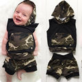 2pcs Newborn Infant Baby Boy Girls Clothes Set Hooded Vest Top Cotton Shorts Outfits Fashion Set Clothing