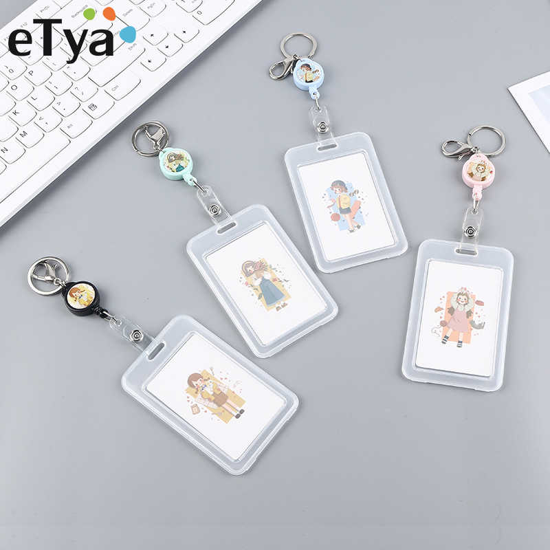 eTya New Retractable ID Card Holder Women Men Bank Bus Cards Cover Work Badge Case Keychain Keyring Cartoon Protective Pouch