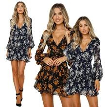 Dress Women's Floral Leaf Printed Lantern Sleeve Dress Ladies Summer Beach Casual Mini Dress women Literary style floral printed bell sleeve mini dress