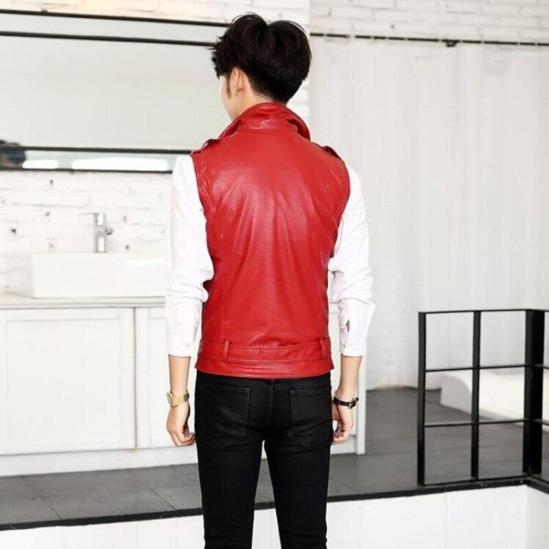 Haut à la mode tout nouveau hommes vestes en cuir d'été pour homme Slim Fit moto Punk gilet manteaux décontractés taille M-2XL blanc - 4