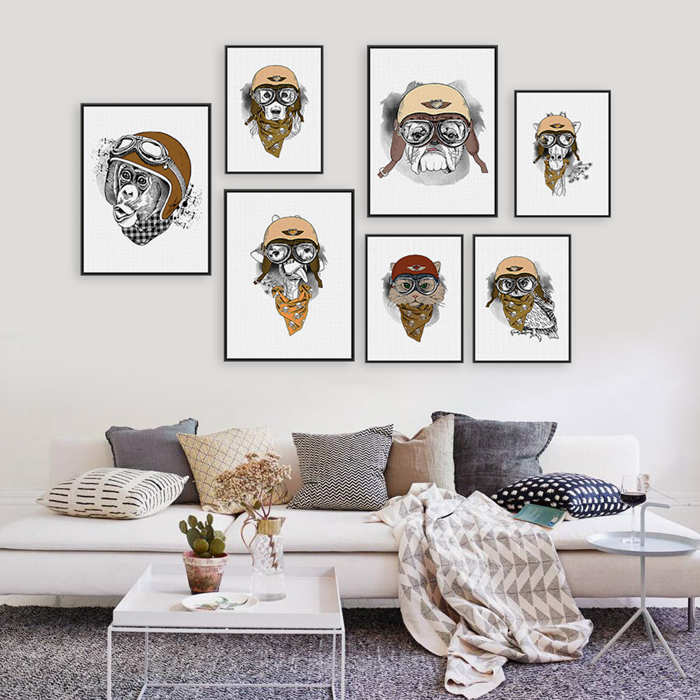 Modern Vintage Retro Hippie Animal Giraffe Owl Helmet A4 Big Art Print Poster Wall Pictures Canvas Painting No Framed Home Decor