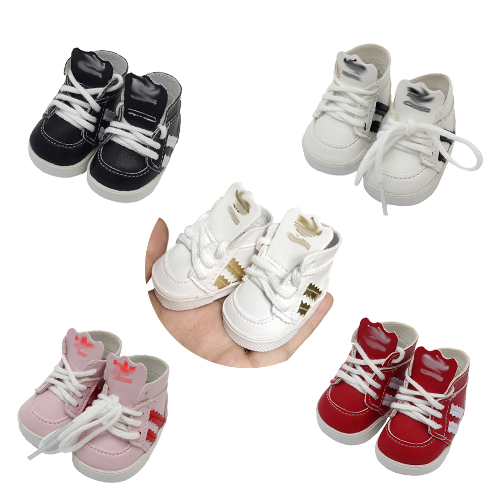 1Pair 5.5*2.8cm Mini Dolls Sports Shoes For 14.5inch Dolls As Fit 20cm EXO BJD Dolls Canvas Sneakers Boots Accessories Toys