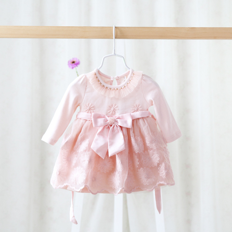2016 spring childrens wear girls clothes of long sleeved dress baby lace sweet and lovely princess dress clothes for baby