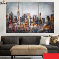 Modern Style Abstract Oil Painting Canvas Retro City Landscape Oil Pictures Decorative Painting Wall Art No