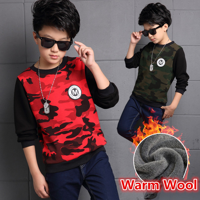 Gruesas Niños Calientes del Invierno Niño Verde Del Ejército Camo Rojo t camisa de Camuflaje Camisa Chicos Camisetas de Manga Larga Para Niños Causales ropa