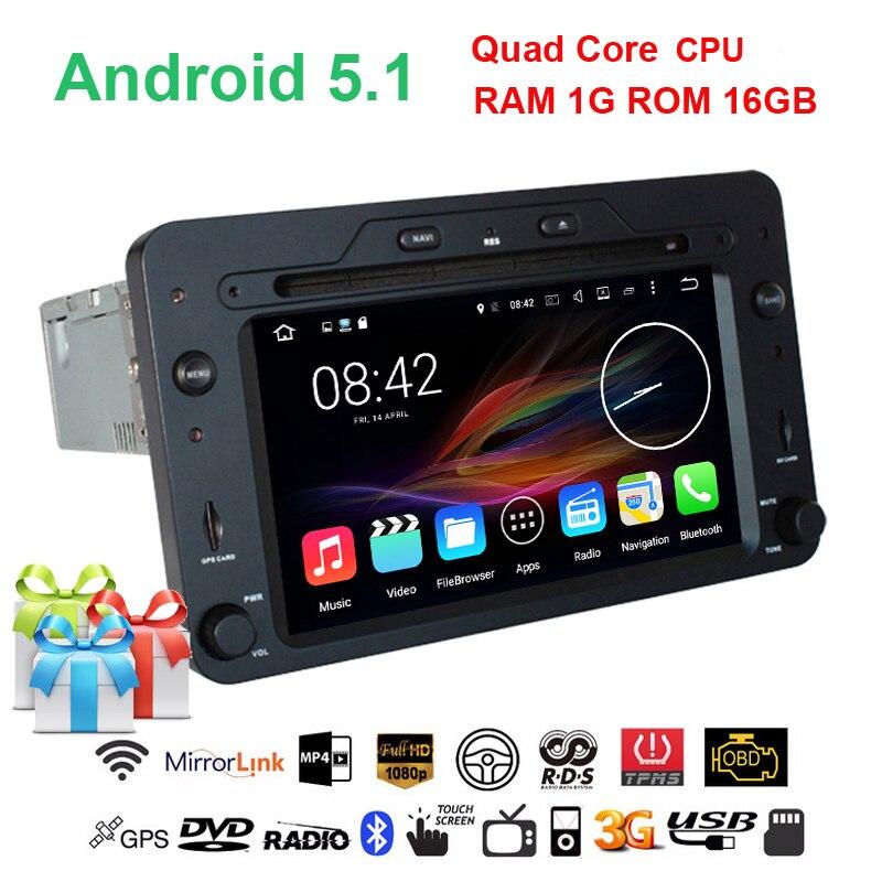 Quad Core Android 5.1.1 Car DVD Player GPS for Alfa Romeo Spider 159 Sportwagon Brera with Capacitive Screen,Radio,BT,Wifi,