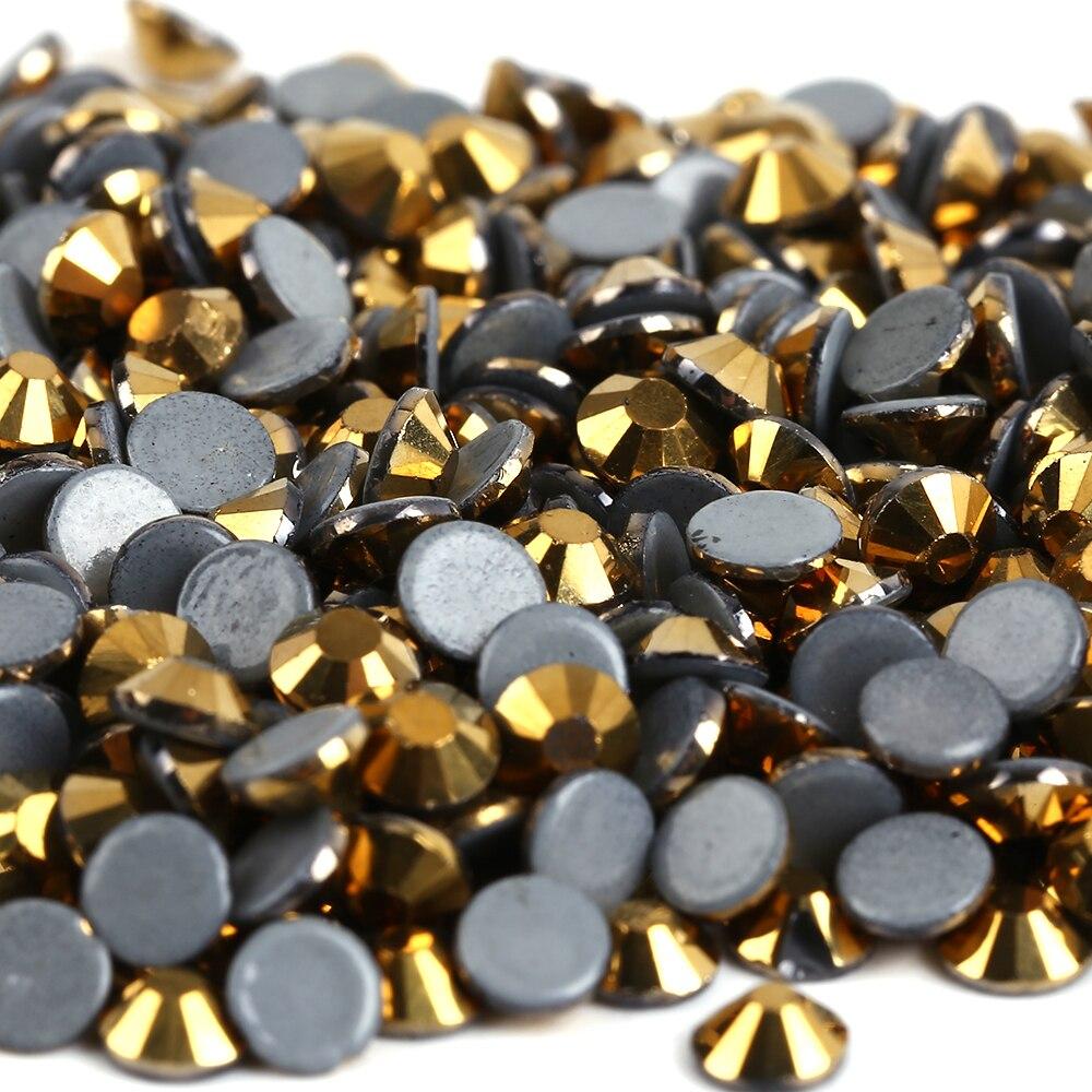 1440pcsLot,  ss20 (4.8-5.0mm) Gold Hematite Glass DMC Crystal Iron On RhinestonesHot fix Rhinestones
