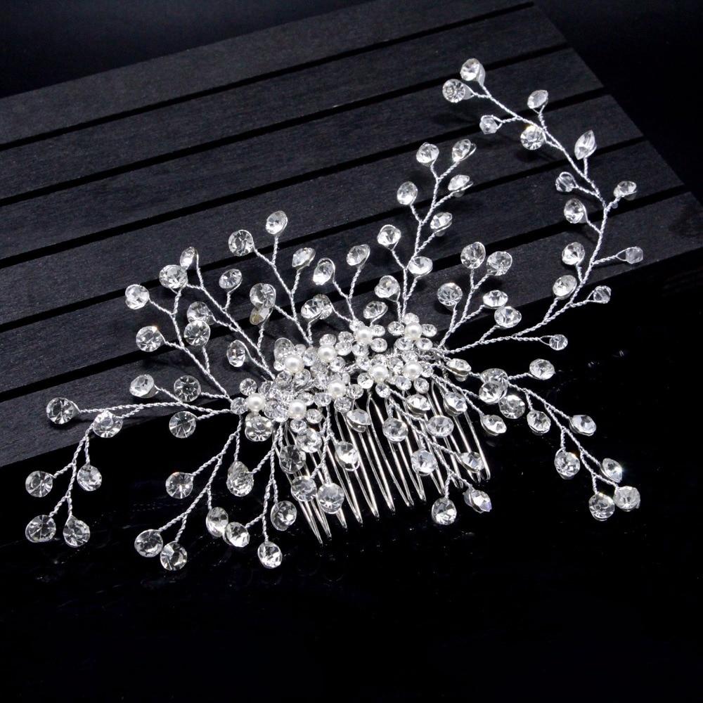Luxurious Handmade Crystal and Pearl Flower Bridal Hair Pins Girl/Women Hair Combs Hair Ornaments Wedding Hair Jewelry Accessory