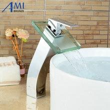 Стеклянный Водопад Смесители Для Ванной Смеситель для раковины Кран Хромированная Полированная Латунь Кран в серии